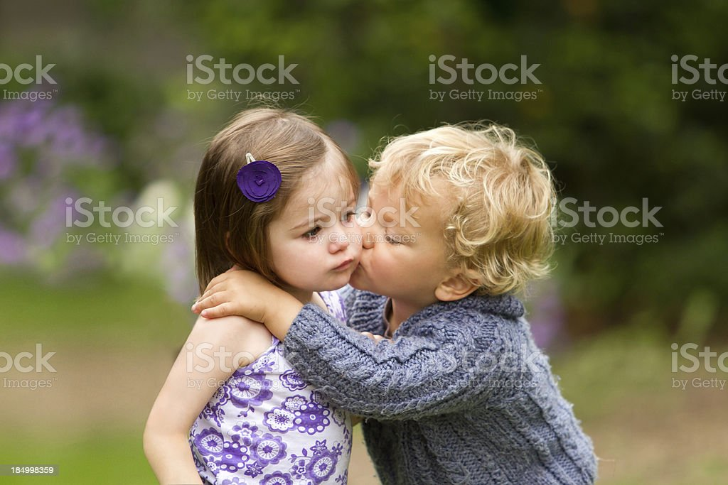 My first kiss stock photo
