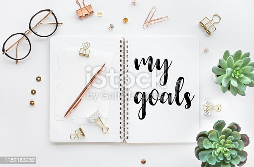 istock My goal concepts with text on notepad with accessories on white desk table background 1152183232