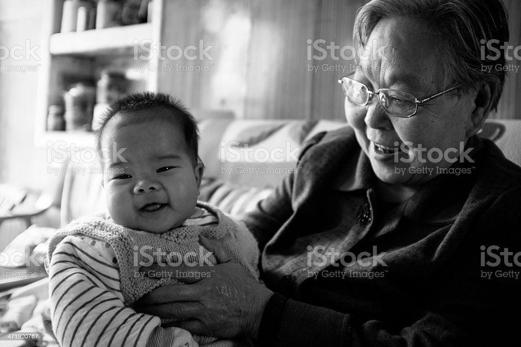 My grandmother and baby royalty-free stock photo