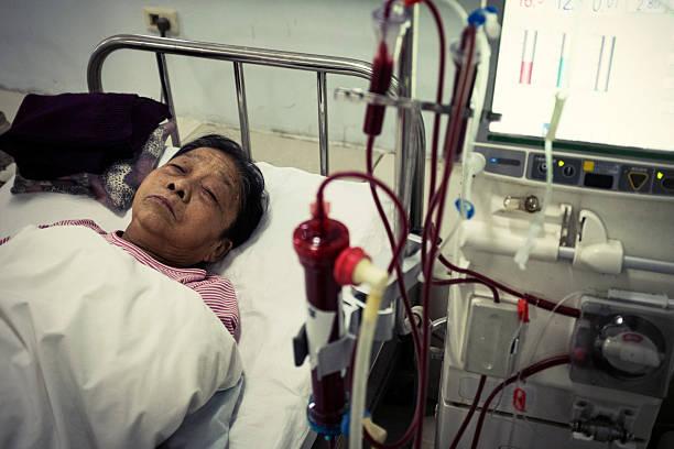 My grandmother is dialysis stock photo