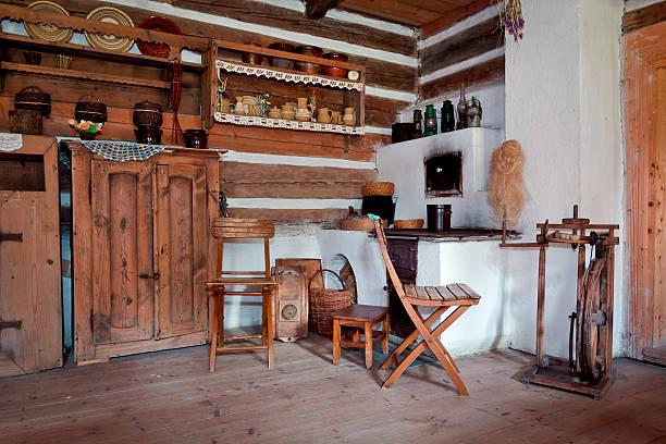 meine große-großmutter's kitchen - landhausstil küche stock-fotos und bilder