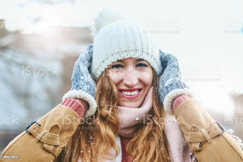 My head is all covered up warm stock photo
