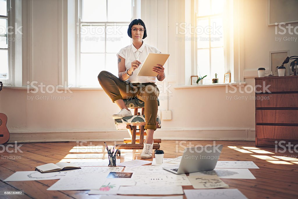 My job is fun, flexible and positively overflowing with creativity stock photo