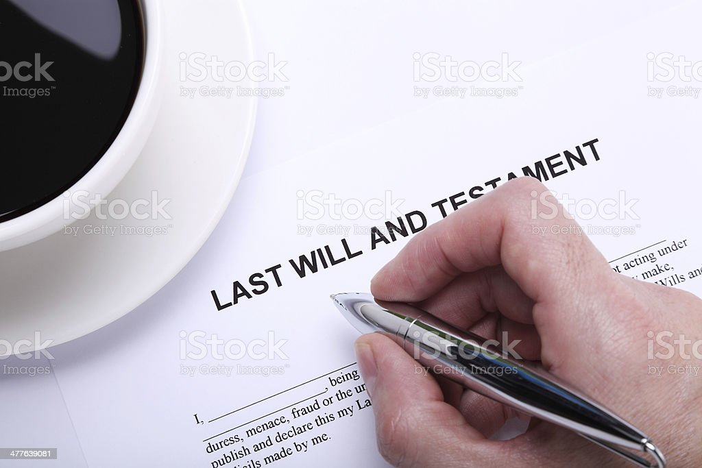 My Last Will and Testament stock photo