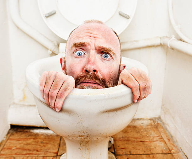 My life is going down the toilet! stock photo
