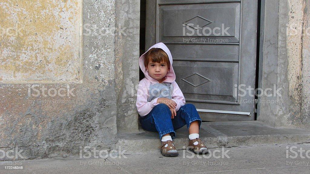 My little angel in the door stock photo
