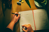 High angle view of female hands writing diary on ocher table with cup of coffee and flower pot.