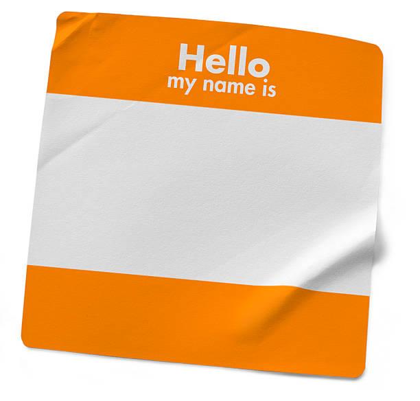 mein name ist. orange - hello stock-fotos und bilder