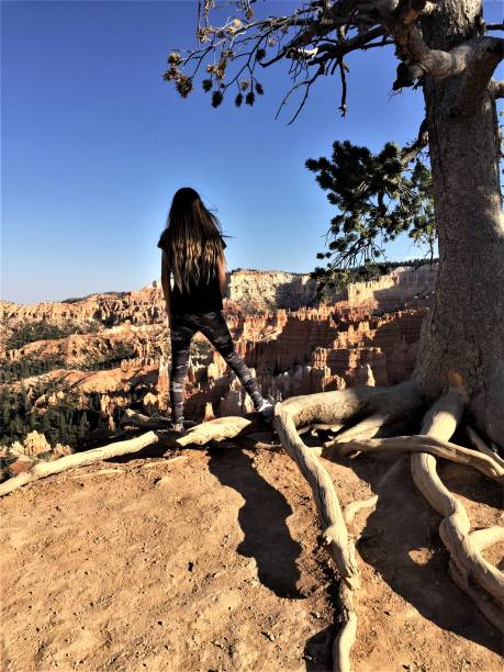 My niece, JayLeigh, standing on exotic tree root at Bryce Canyon National Park stock photo