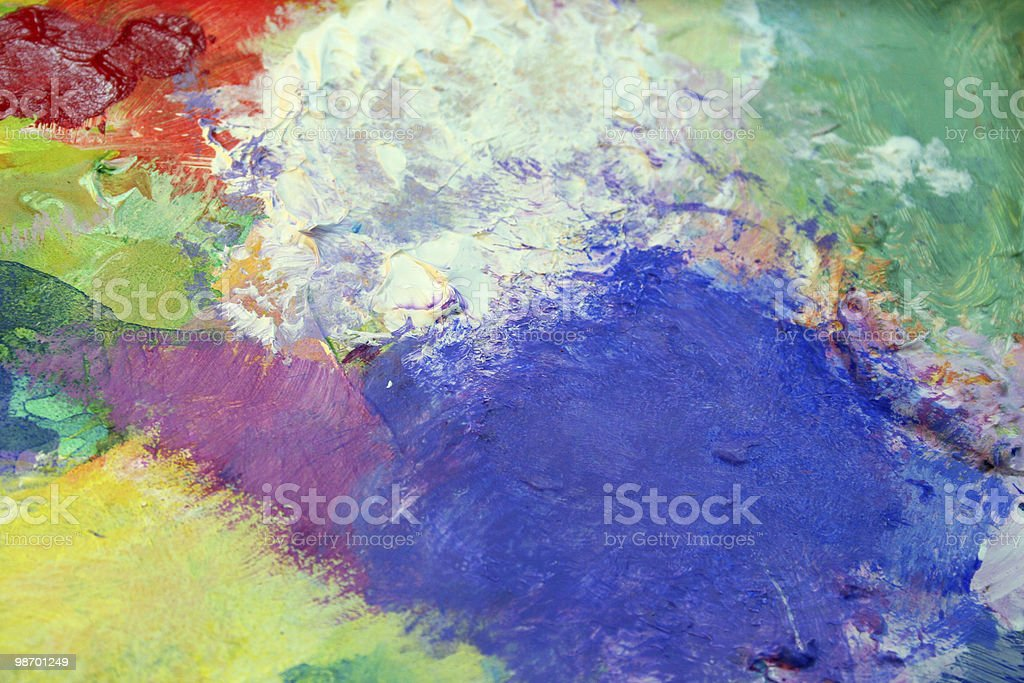 My paint palette: Blue, White, Green, Yellow Acrylics royalty-free stock photo