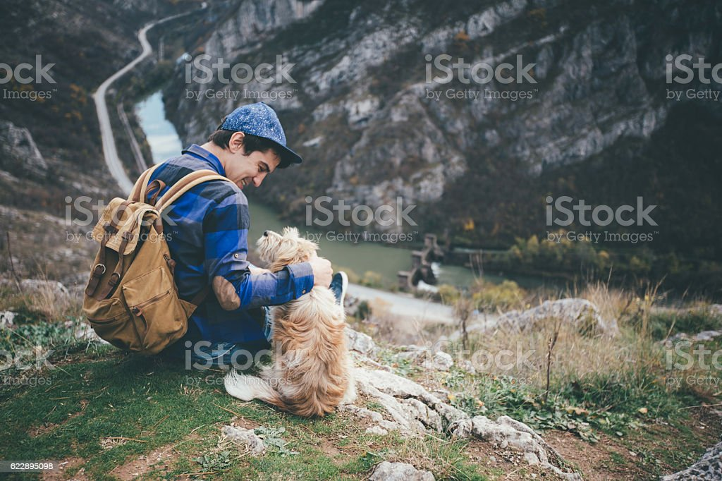 My perfect friend for hiking stock photo