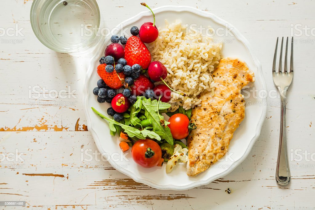 My plate - portion control guide stock photo