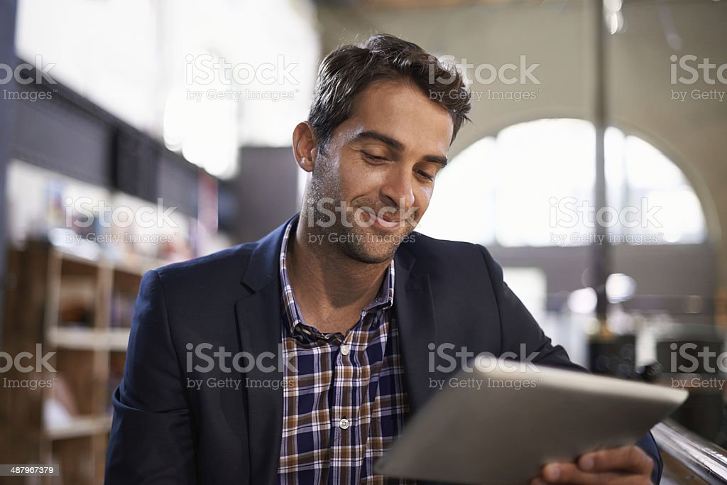 My POS is portable thanks to this tablet stock photo