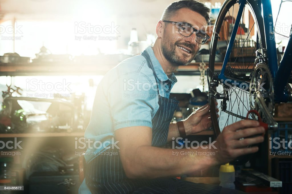 My repair work is backed by years of experience stock photo