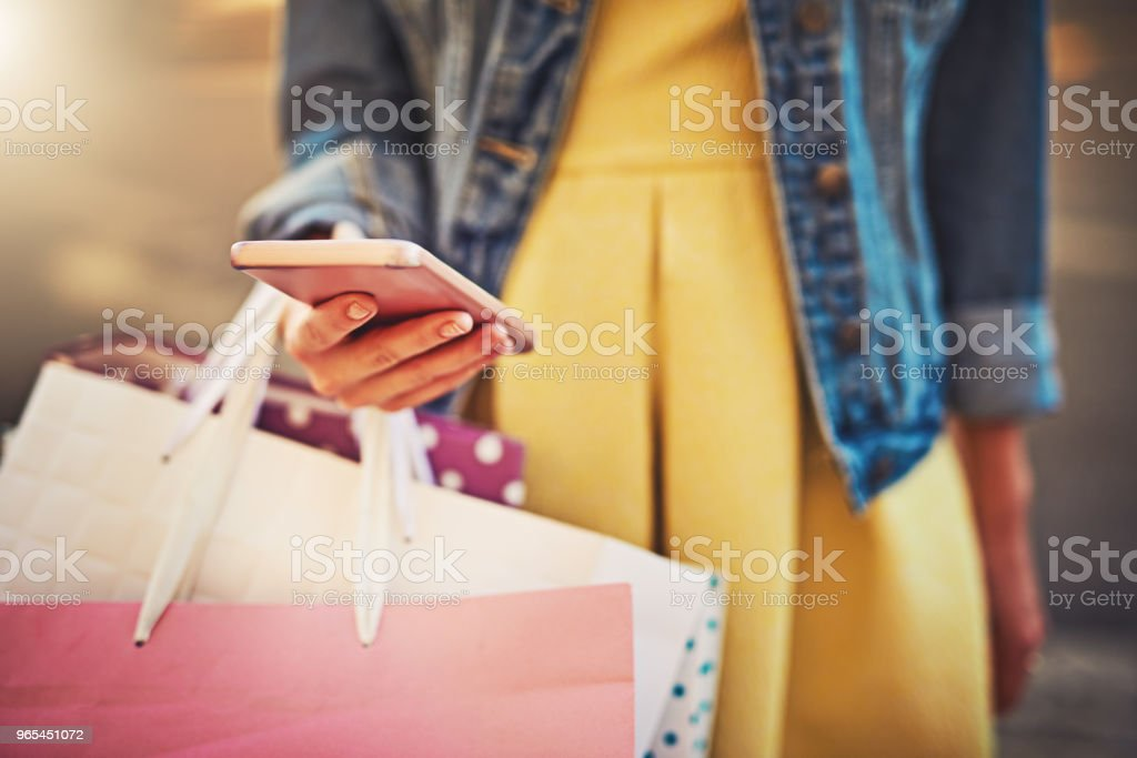 My shopping app is awesome, it gives me discounts royalty-free stock photo