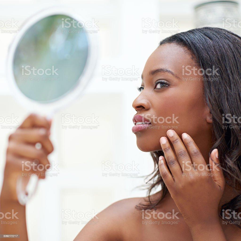 My skin feels great stock photo