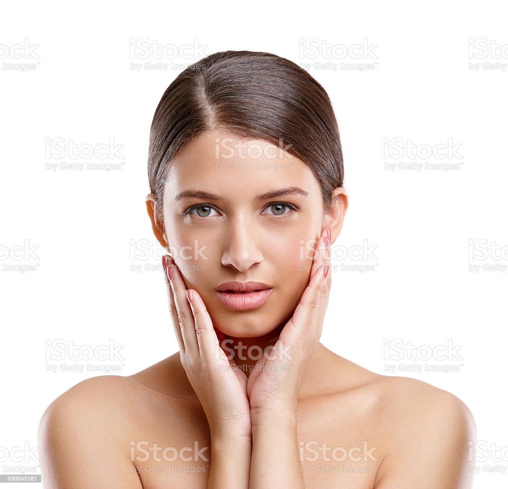 My skin's looking and feeling great stock photo