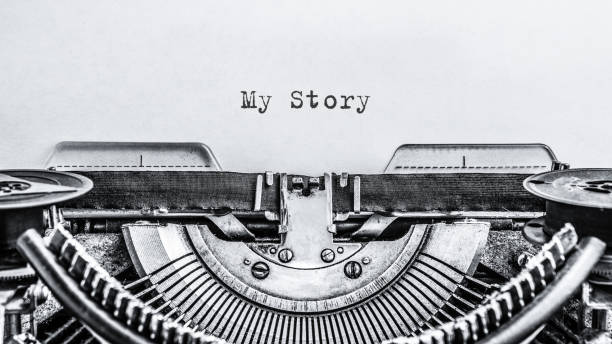 My Story typed words on a vintage typewriter. Close up. stock photo