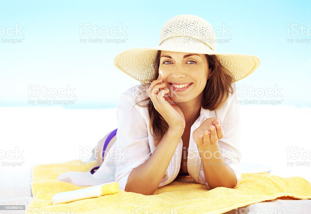 My sun protection routine is a pleasure stock photo