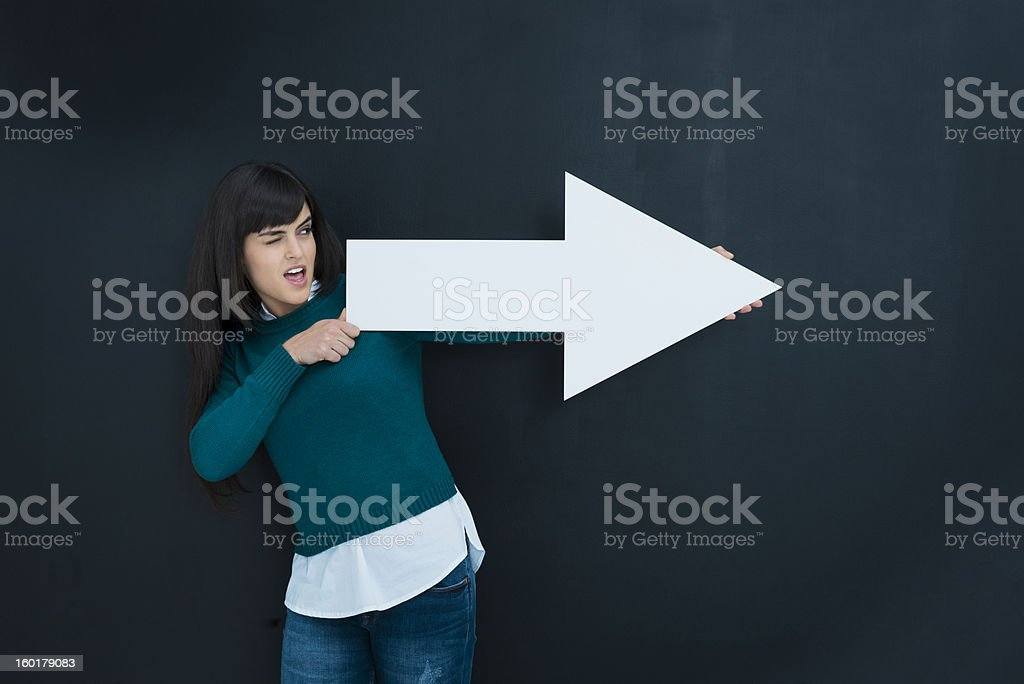 My targets: woman pointing stock photo