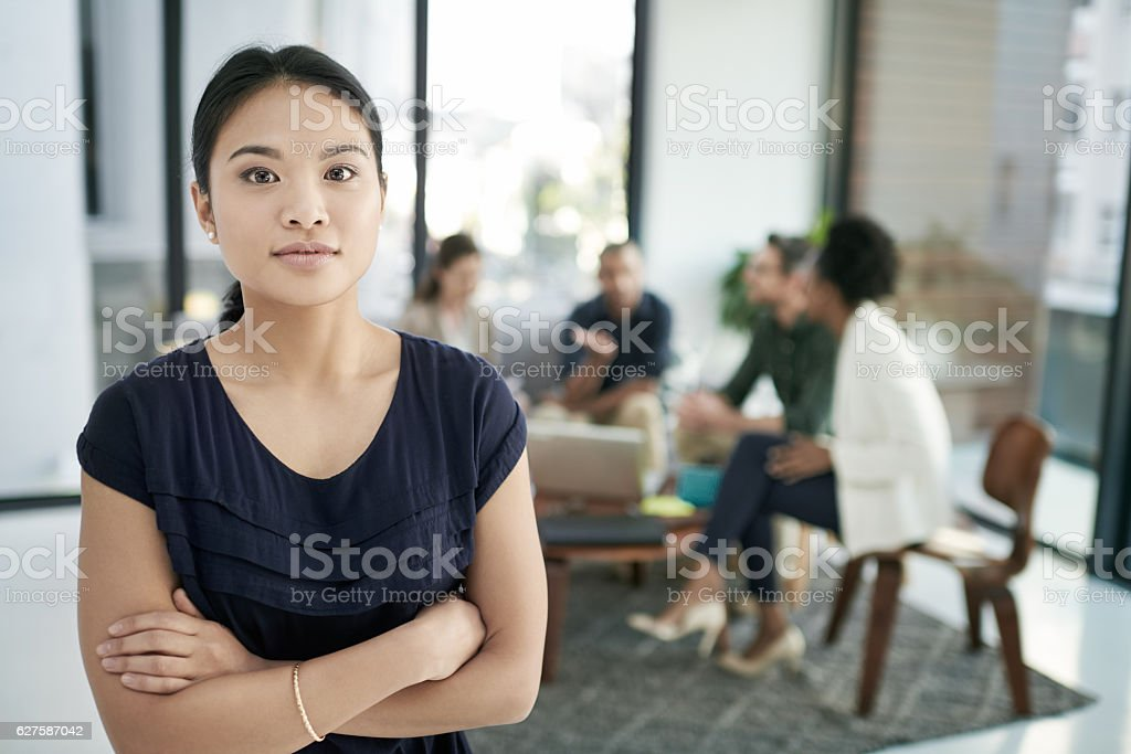 My team brings their A game to every meeting stock photo