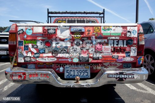 Daly City, California, USA - June 10, 2010: Rear of red pickup truck with likes, dislikes, and opinions of the owner.