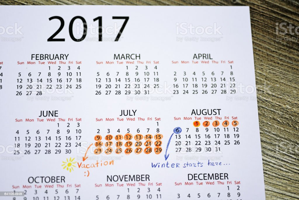My vacation calendar of year 2017. stock photo