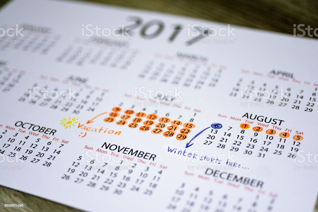 My vacation calendar of year 2017 stock photo
