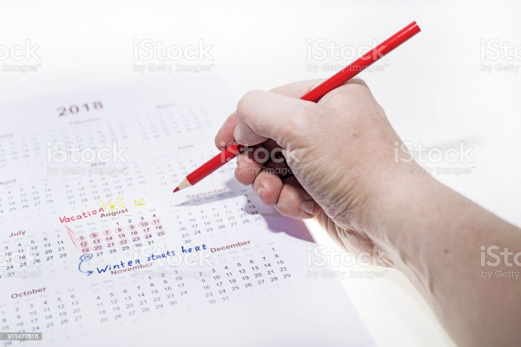My vacation calendar of year 2018. stock photo