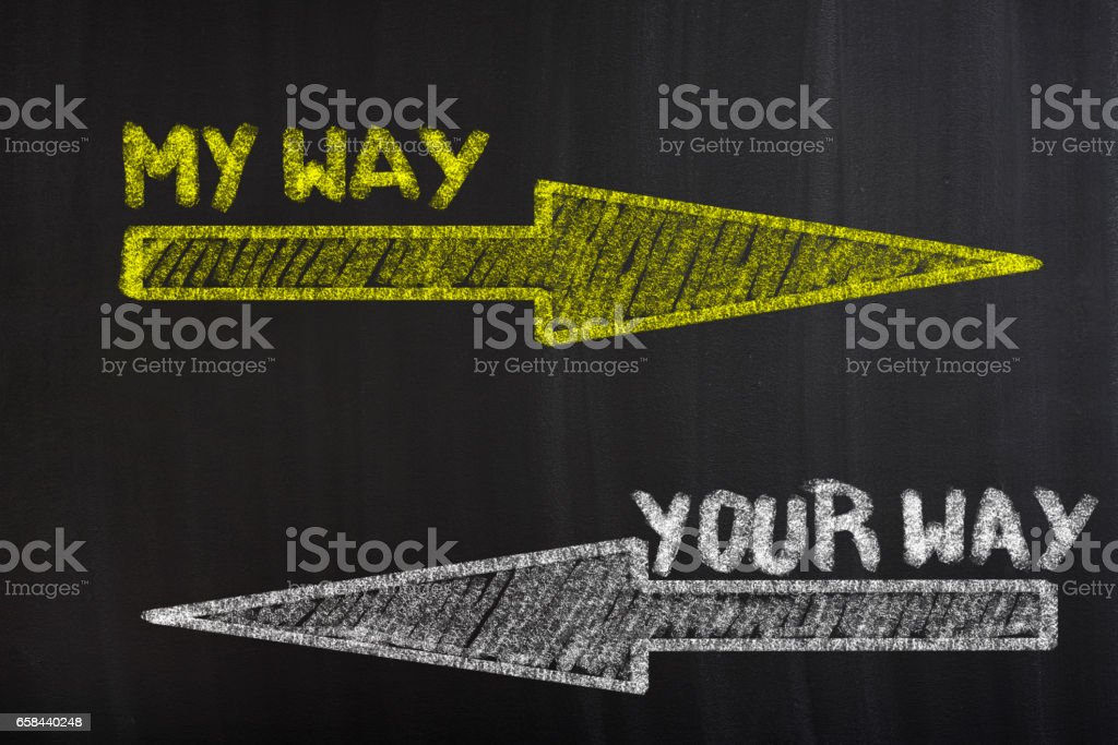 My way and your way vector art illustration