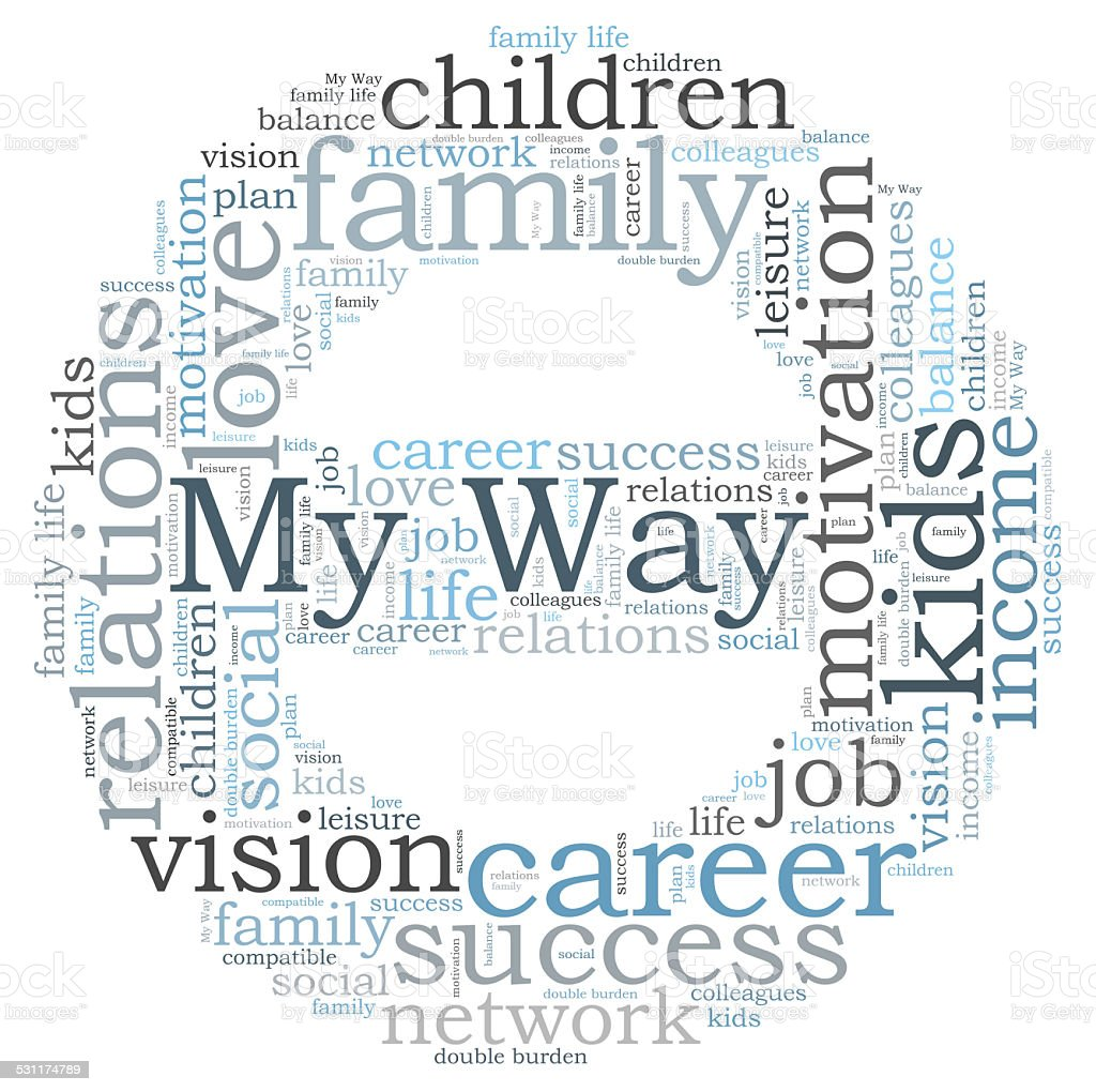 My way word cloud stock photo