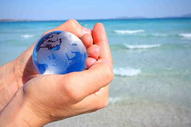 My world is blue stock photo