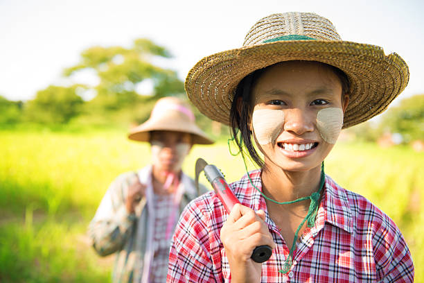 Myanmar Asian traditional farmer stock photo