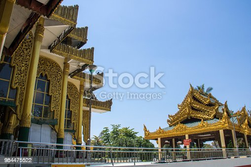 The beautiful buildings of the Chaukhtatgyi Buddha Temple in Yangon, exhibiting the finest Burmese architecture.