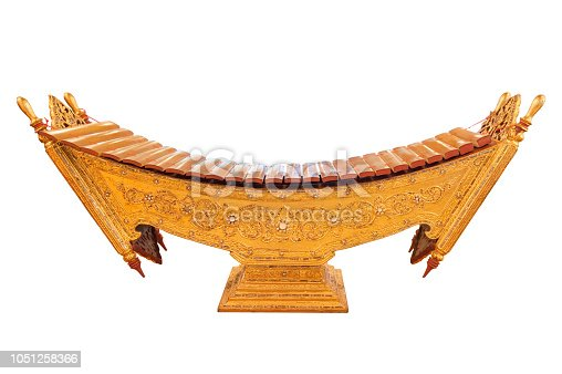 Myanmar classical music instrument decorated with Burmese art pattern. Myanmar xylophone