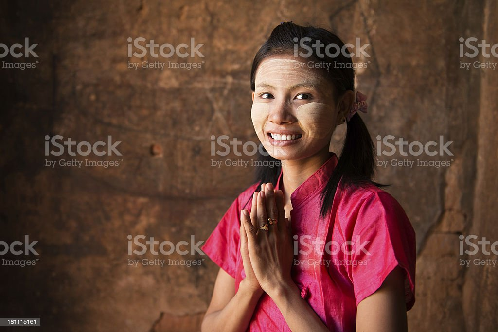 Myanmar Girl Welcoming Stock Photo & More Pictures of Adult | iStock