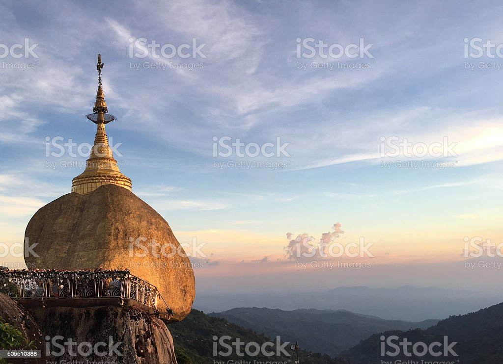 Myanmar Golden Rock Pagoda at Sunset stock photo