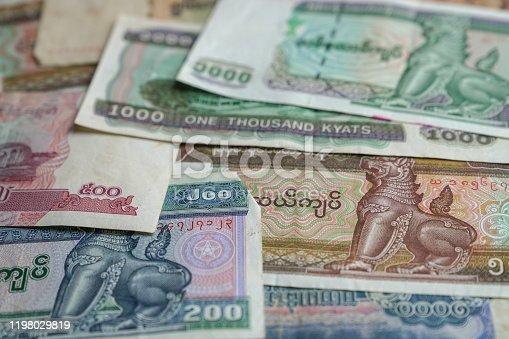 Myanmar Kyat bank notes, in various denominations