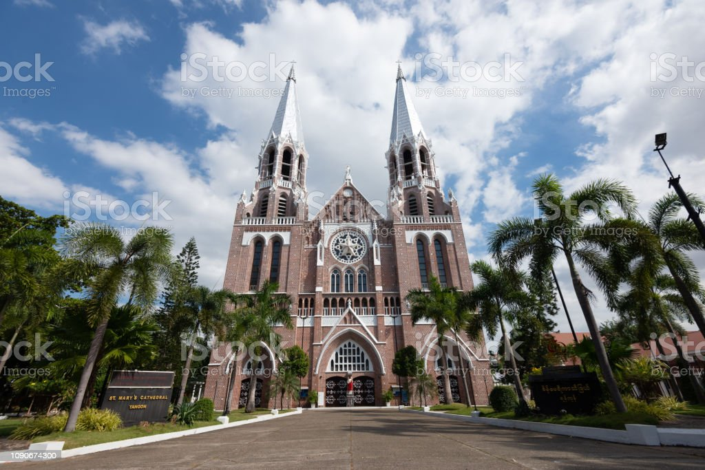 Myanmar Saint Mary's Cathedral is a largest Catholic cathedral in Myanmar located on Bo Aung Kyaw Street in Botahtaung Township,Yangon. stock photo