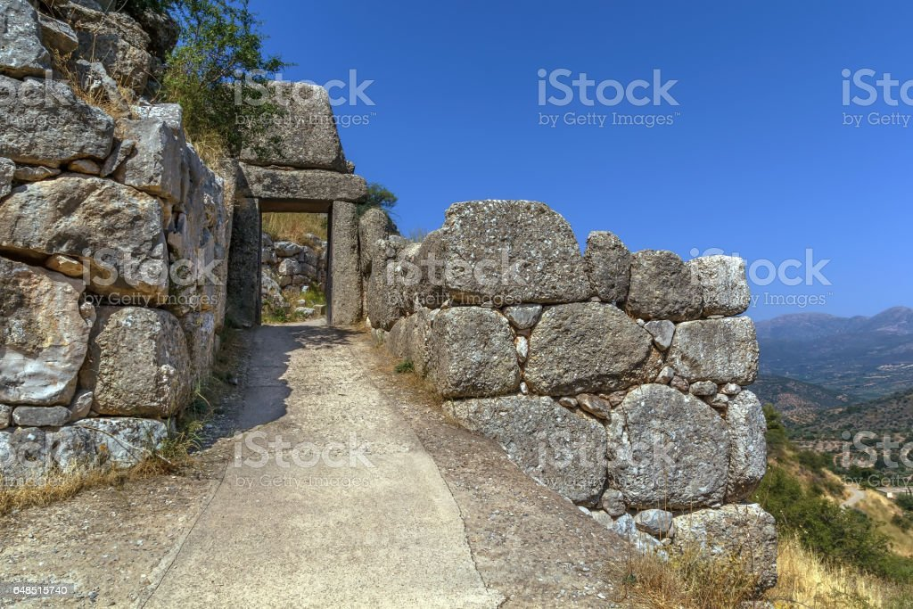 Mycenae is an archaeological site in Greece stock photo