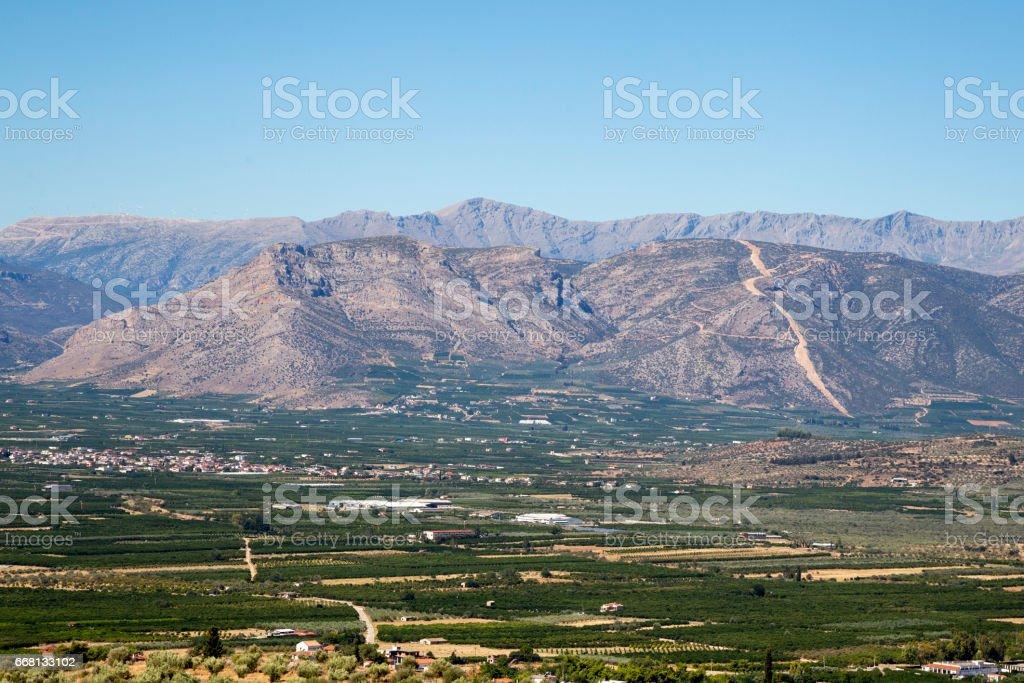 Mycenae landscape stock photo