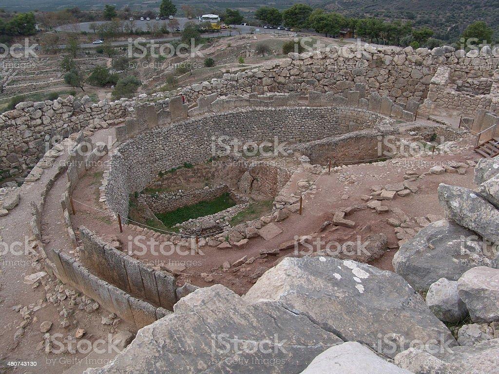 Mycenaean palace ruins stock photo