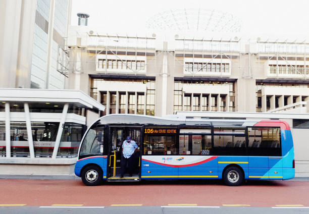 MyCiti rapid urban transit bus in Cape Town A MyCiti bus at the Civic Centre stop outside the Cape Town municipal offices. MyCiti is a rapid transit system using separate bus lanes. bus rapid transit stock pictures, royalty-free photos & images