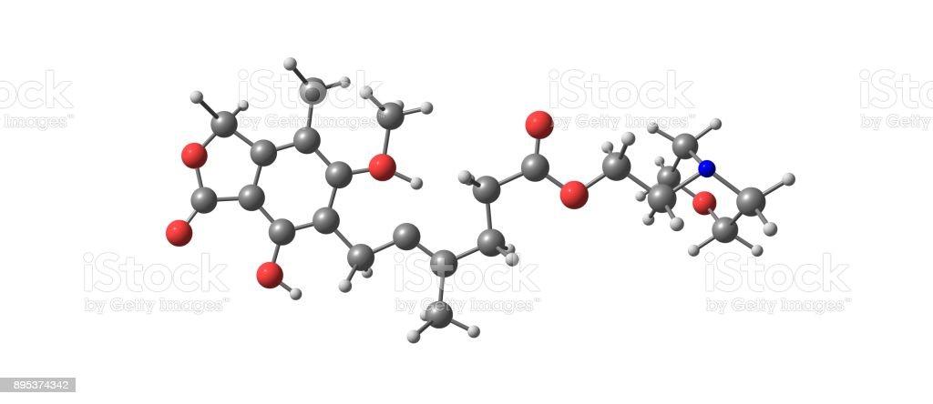 Mycophenolic acid molecular structure isolated on white stock photo