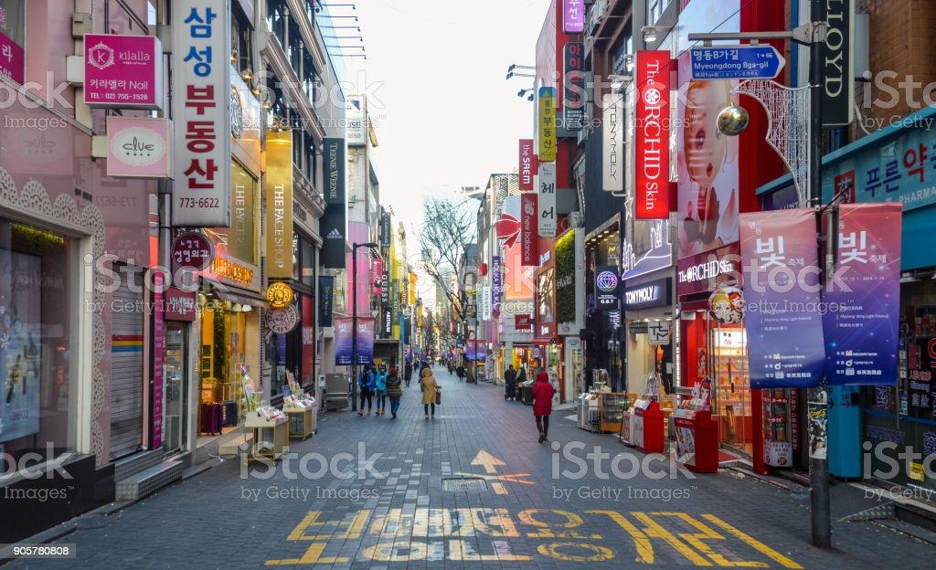 Myeongdong district of Seoul, South Korea stock photo