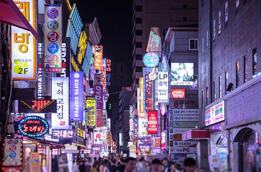 Myeongdong in Seoul at night