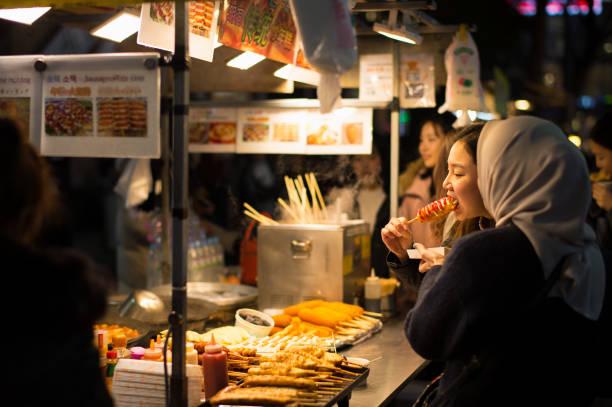 Myeong-dong Street Food, Fish Cakes and Hot Dog stock photo