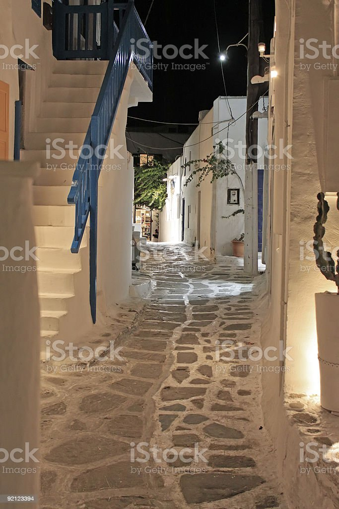 Mykonos Alley at Night stock photo