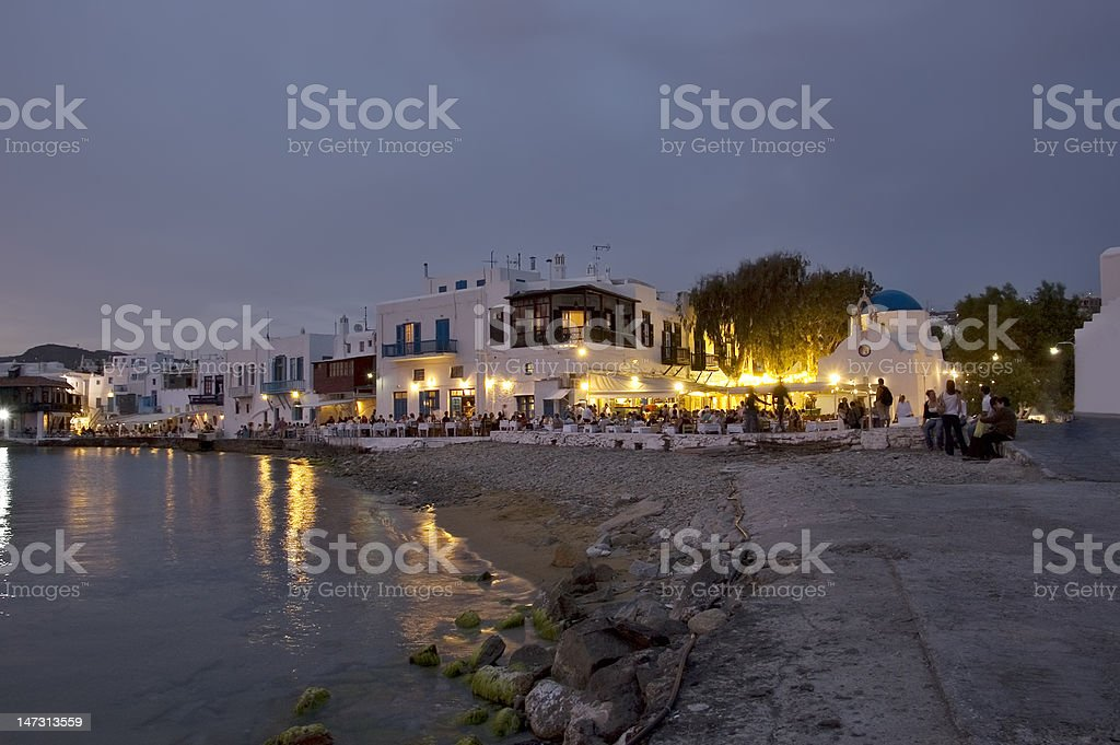 Mykonos beach at dusk royalty-free stock photo