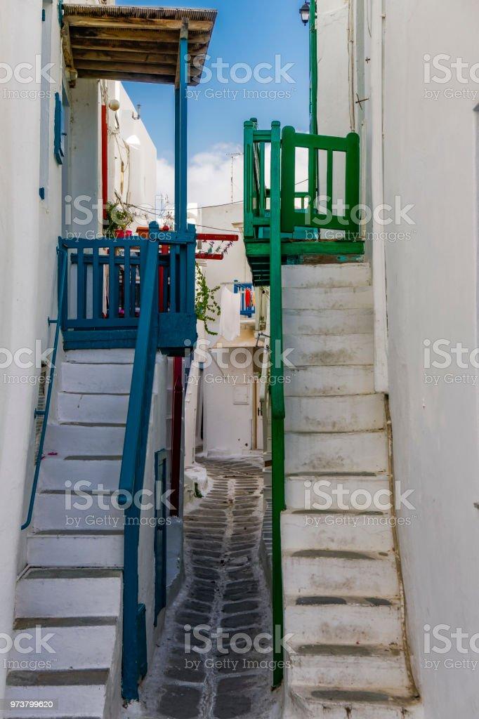 Mykonos, Greece whitewashed alleys. stock photo